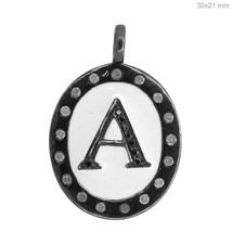 925 Sterling Silver A Initial Letter Alphabet Charm Pendant White Enamel... - $201.03