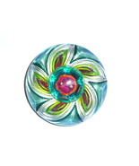 Wonderful Artist Hand Painted One-of-A-Kind Shimmering Lacy Glass Button... - $34.64