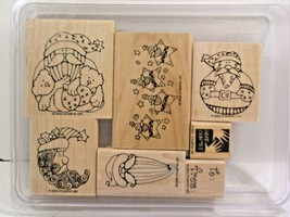 Stampin Up Rubber Stamps 2003 Mix Lot Of 7 Santa Claus Theme - $7.69
