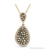 0.93 ct Fancy Color Diamond Pave Pendant & Chain Necklace 14k Rose & Bla... - $1,039.49