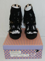 BF Betani Shiloh 8 Black Fringe Wedge Heel Sandals Size 7 And Half image 1