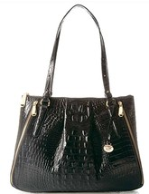 Brahmin Adina Black Melbourne Croc Leather Shoulder HandBag  - $169.99