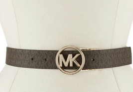 MICHAEL KORS BELT REVERSIBLE CHOCOLATE/BLACK MINI MK LOGO MK LOGO GOLD B... - $37.99