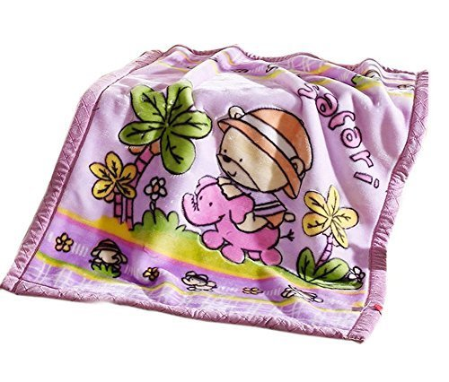 Dual Layers Purple Raschel Baby Toddlers Blanket