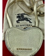 Burberry Gold Leather Heart Shape Zip Up Crossbody Girls Women's Shoulde... - $133.64