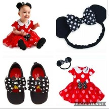 Disney Minnie Mouse Costume Bodysuit Dress Shoes Baby Red Toddler  Size 12-18 m - $69.29