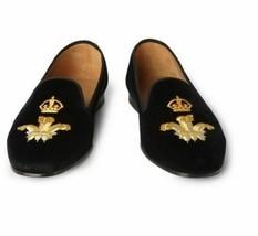 Handmade Men's Black Embroidered Slip Ons Loafer Velvet Shoes image 3