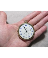 Antique 1910's OMEGA 17 Jewel Gold Filled Pocket Watch w/Blue Dial Running - $420.00