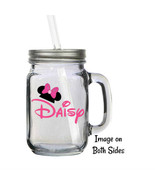 Personalized Disney Minnie Mouse Ears 16oz Glass Mason Jar Mug with Lid ... - $16.99