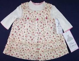NWT Rare Editions Girls Ivory Rose Corduroy Jumper Dress Set 6-9M, 12M, ... - $15.99