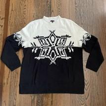 Talbots Wool Blend Black White Snowflake Pattern Sweater Size Large Mock... - $27.72