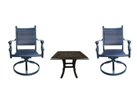 Patio bistro table and chairs outdoor swivel rocker chair set cast aluminum image 1