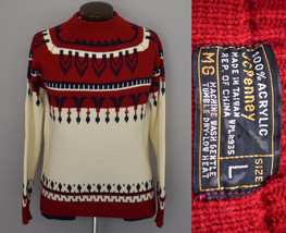 Vintage 70s JCPenney Nordic Design Sweater Size Medium to Large - $74.99