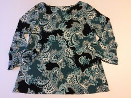 Charter Club Top Ladies Size Large Paisley 3/4 Bell Sleeves Black White Green - $15.44