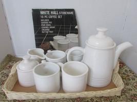 WHITE HALL STONEWARE COFFEE POT  4 MUGS CREAMER & SUGAR WHITE W/RATTAN T... - $19.95