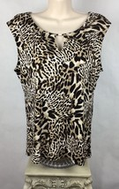 Calvin Klein M Womens Top Sleeveless Cheetah Leopard Print Embellished B... - $23.87