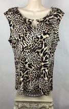 Calvin Klein M Womens Top Sleeveless Cheetah Leopard Print Embellished B23-9 - $23.87