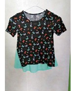 Girls Black and Green butterfly shirt, size 6x, pre-owned - $9.95