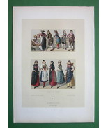 COSTUME of Switzerland Women & Peasants - COLOR Litho Antique Print A. R... - $12.15