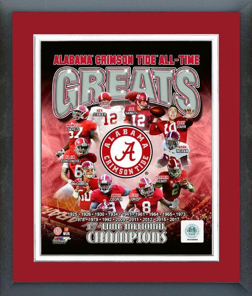 "Alabama Crimson Tide All-Time Greats- 11"" x 14"" Team Logo Matted/Framed Photo"