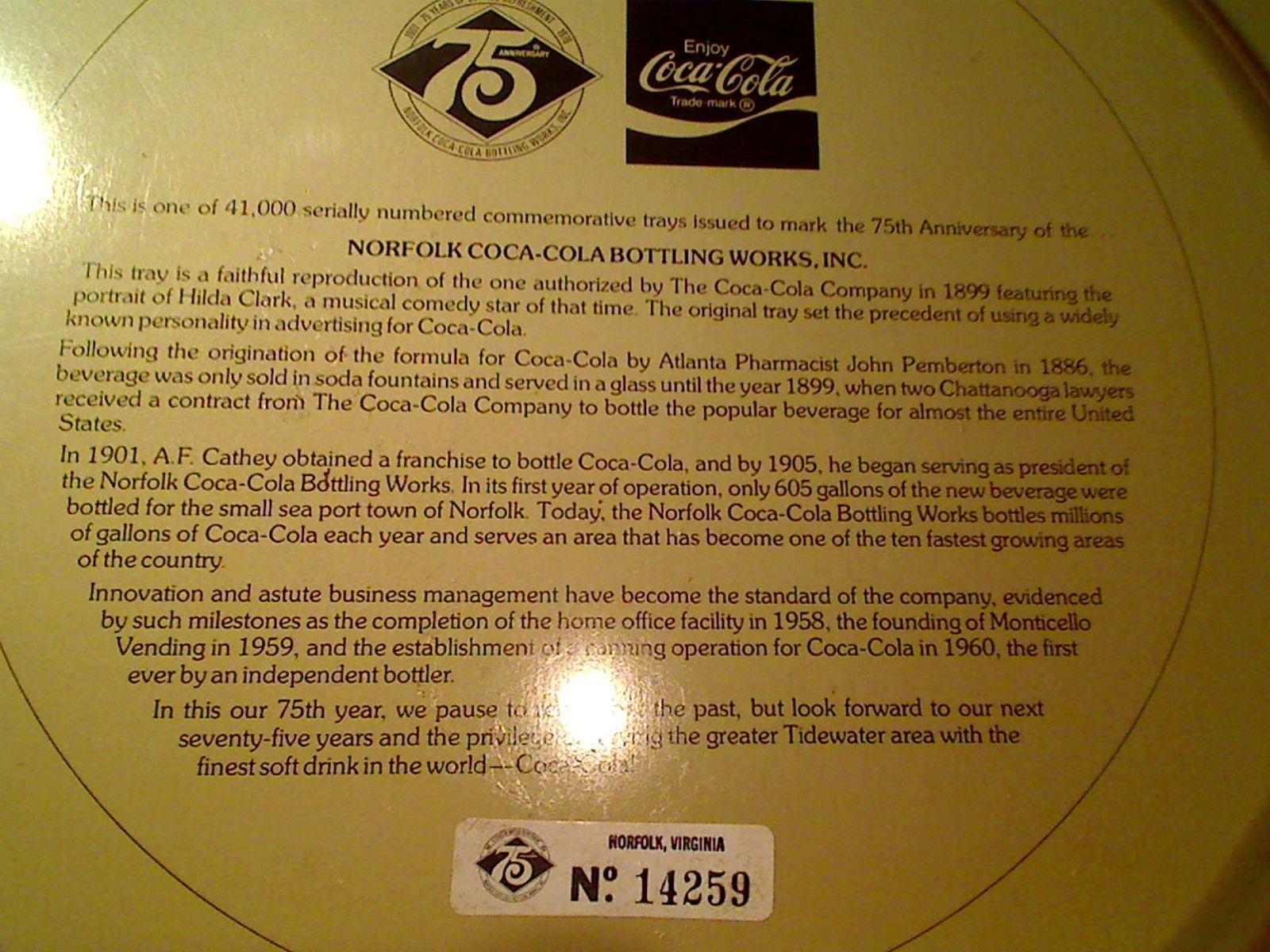 Vintage Norfolk Virginia 1899 Repro 75th Anniversary Coca-Cola Bottling Tray