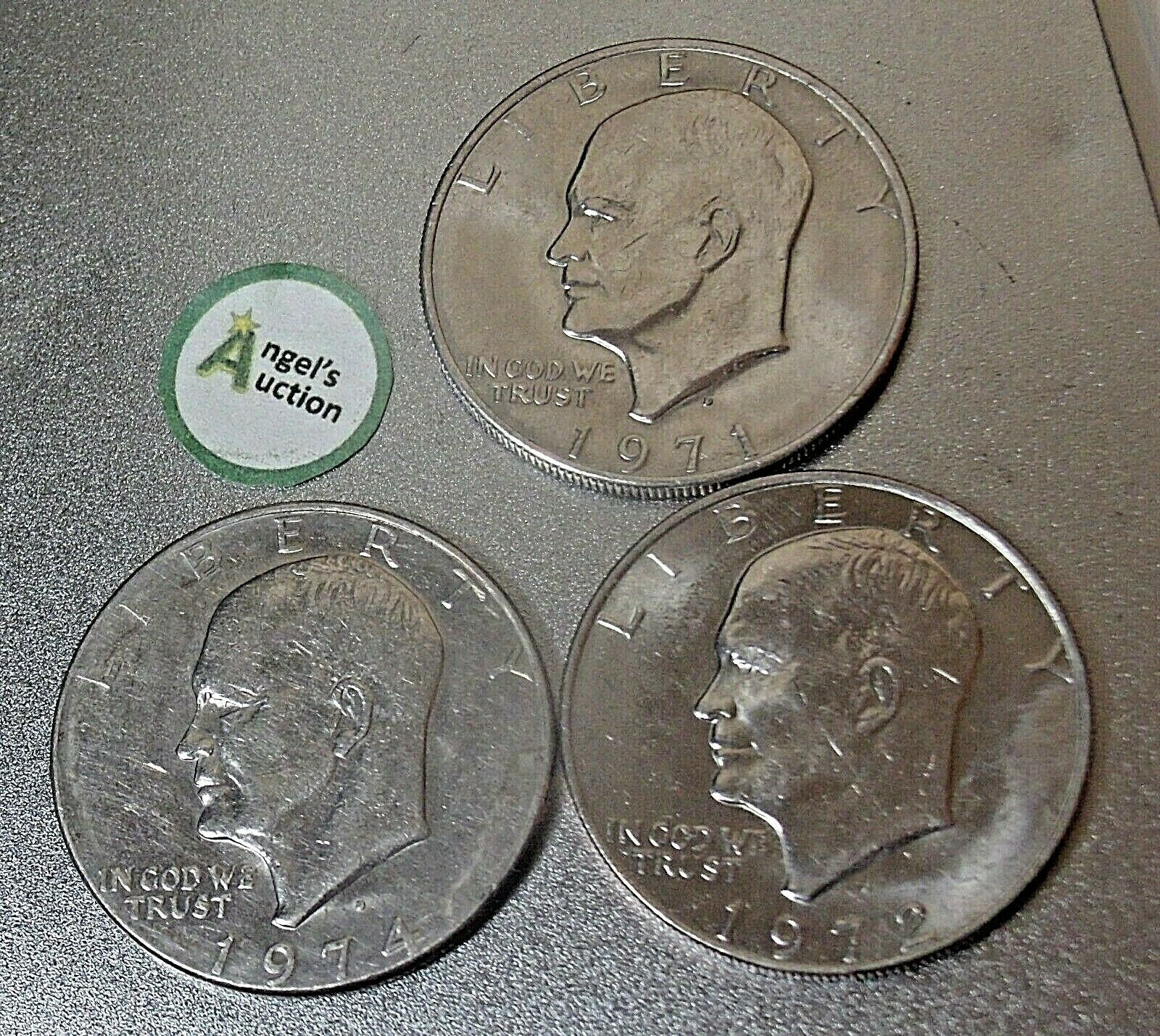 Eisenhower Dollar 1971 D, 1972 D and 1974 D AA20D-CND8002