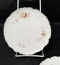 Vintage China Salad Plates: Set of 2, White Bread / Side Plates w Flowers, Gold image 2