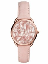 NWT  Fossil ES4419 TAILOR Rose Gold Pearly Dial Pink Blush Leather 35mm ... - $59.88