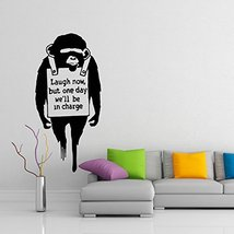 ( 27'' x 55'') Banksy Vinyl Wall Decal Monkey with Quote Laugh Now / Chimp with  - $45.52