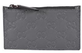 New Gucci 435366 Grey Leather GG Guccissima Zip Top Slim Small Card Case... - $345.48