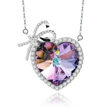 925 Sterling Silver Necklace Ladies Fashion Heart Pendants Made with Crys - $100.70