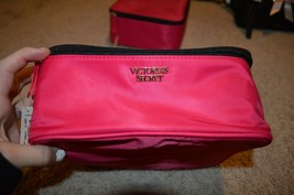 SET of 3 Victoria's Secret PINK PURPLE Makeup Bag Travel Case Pouch trio set - $46.08