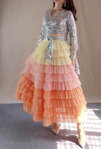 Yellow Pink Layered Tulle Skirt Tiered Tulle Party Outfit Plus Size Party Skirt  image 3
