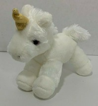 Aurora world Unicorn small Plush white gold horn purple eyes stuffed animal - $11.87