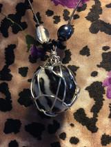 Zebra Jasper Wire Wrapped Necklace - $25.00