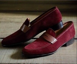 Apron Toe Maroon Tone Moccasin Loafer Slip Ons Vintage Leather Stylish S... - $131.18+