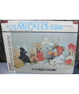 McCall's 5369 Forest Family Pattern 1976 Wolf Squirrel Woodchuck - $15.00