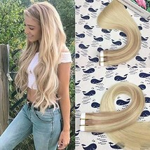 HIKYUU 16inch 30g/20pcs Tape in Extension Blonde Ombre Human Hair Seamless Balay - $46.02