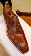 Brown Tone Brogues Cap Toe Superior Genuine Leather Lace Up Men Oxford Shoes - $139.99+