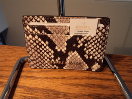 Authentic Michael Kors Money Pieces Snake Natural Embossed Leather Card ... - £31.13 GBP
