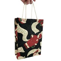 Holiday Gift Bag Cloth Christmas Package Bag Handmade Santa Design  - $6.85