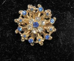 Vintage Gold Tone Blue & Clear Rhinestone Pin Brooch - $10.88