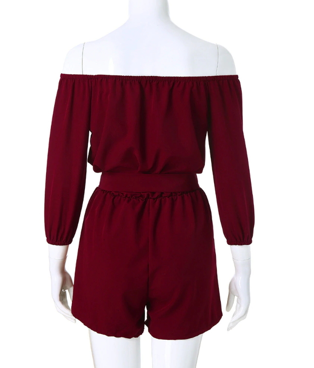 ITCQUALITY WOMEN PLAY SUIT JUMPSUIT ROMPER CASUAL WITH BELT 3/4 SLEEVE ITC1373.