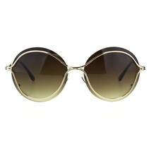 Womens Round Sunglasses Unique Gold Metal Rims Over Lens UV 400 - $11.95