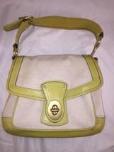 Coach Legacy Natural / Citron Canvas Slim Flap Handbag 10828 - $59.39