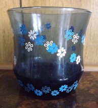 Vintage Blue Smoked Glass Flowers Swanky Swig Juice Glass Tumbler Cup Be... - $7.69