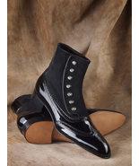 Handmade Black Button Boots, Men Men's Two Tone  Patent Suede Black Colo... - $174.97+