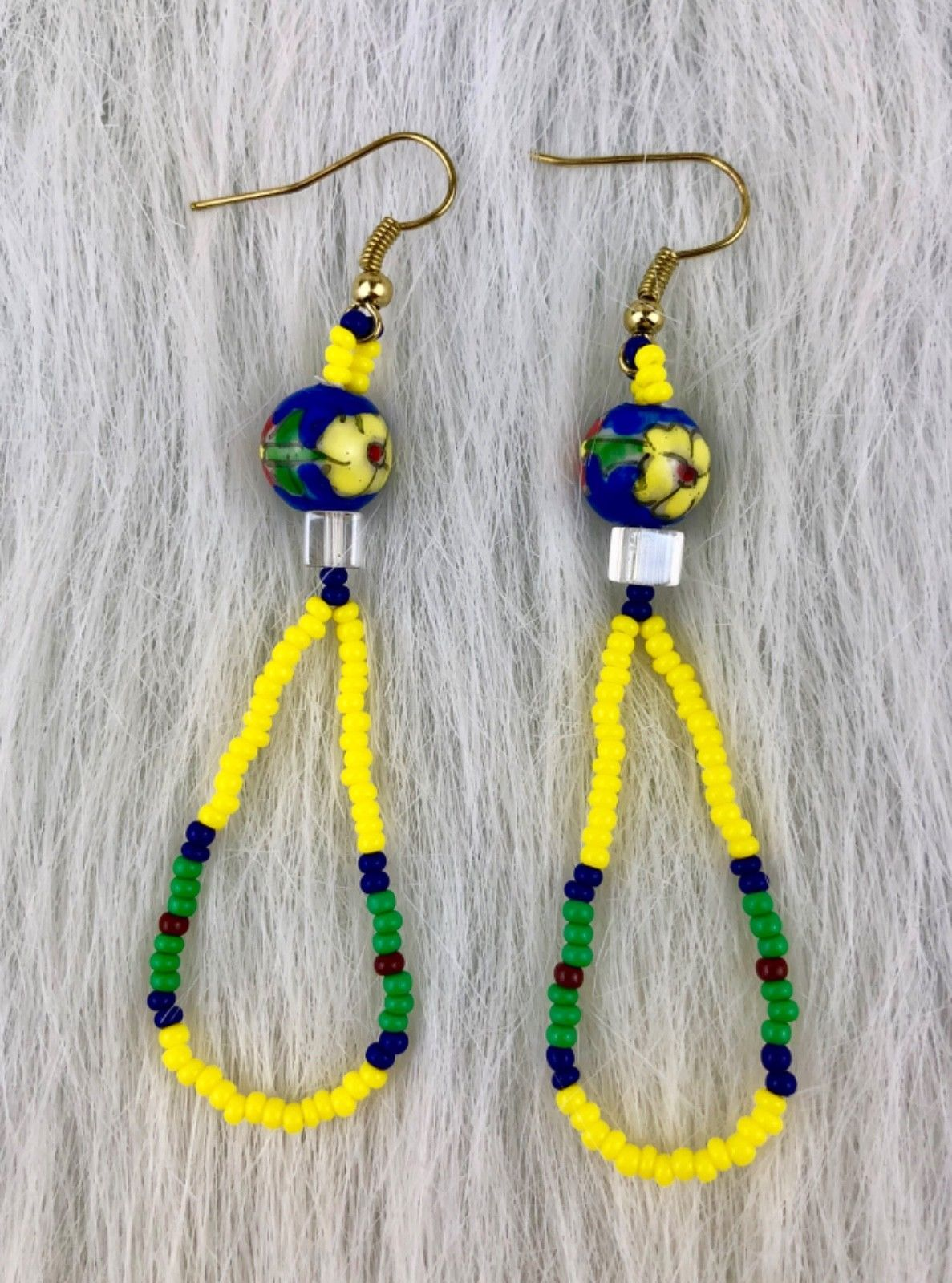 Primary image for Floral Native American Style Yellow Green Blue Beaded Dangle Pierced Earrings