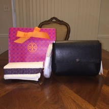 NWT Tory Burch Robinson Flap Crossbody Messenger in Black with Tory gift... - $261.44
