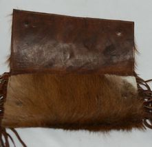 Unbranded Brown Cowhide Frindged Small  Eight Inch Clutch image 3